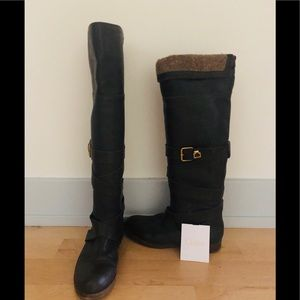 Price drop 💕CHLOÉ.Wool-lined leather knee boots.